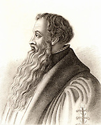 Johannes a Lasco or Jan Laski (c1499-1560) Polish Reformation Protestant divine. At Cranmer's invitation, he became leader of the Protestant refugees in London, where he preached during the reign of Edward VI.  He left England on the accession of the Roman Catholic Mary I. Engraving 1825.