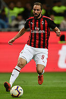 Gonzalo Higuain of AC Milan in action during the Serie A 2018/2019 football match between Fc Internazionale and AC Milan at Giuseppe Meazza stadium Allianz Stadium, Milano, October, 21, 2018 <br />  Foto Andrea Staccioli / Insidefoto
