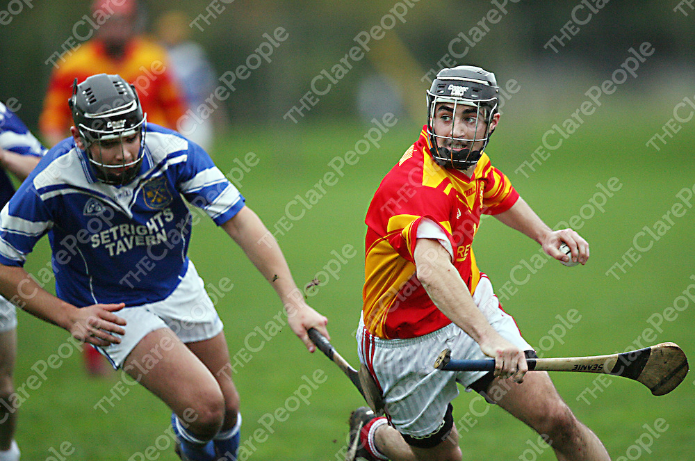 Smith O' Briens 8 tries to get away from Cratloe's 8 during the Senior B final in Shannon on Saturday.<br /><br /><br /><br />Photograph by Yvonne Vaughan.