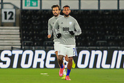 Cardiff City forward Kieffer Moore (10) in the warm up during the EFL Sky Bet Championship match between Derby County and Cardiff City at the Pride Park, Derby, England on 28 October 2020.
