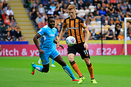 Burton Albion striker Lucas Akins (10) and Hull City midfielder Sam Clucas (11) during the EFL Sky Bet Championship match between Hull City and Burton Albion at the KCOM Stadium, Kingston upon Hull, England on 12 August 2017. Photo by Richard Holmes.