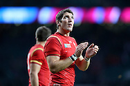 James Hook of Wales looking on. Rugby World Cup 2015 quarter final match, South Africa v Wales at Twickenham Stadium in London, England  on Saturday 17th October 2015.<br /> pic by  John Patrick Fletcher, Andrew Orchard sports photography.