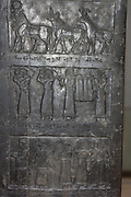 The Black Obelisk of Shalmaneser III (858-824 BC). Assyrian, from Nimrud. Made of fine-grain Black limestone streaked with white. It records the king's campaigns, and tributes given to him.