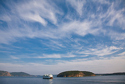 North America, United States, Washington, San Juan Islands,  ferry boat and islands