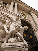 Hercules Statue at  the entrance to the Hofburg Imperial Palace. It is the official residence and workplace of the President of Austria