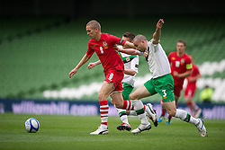 DUBLIN, REPUBLIC OF IRELAND - Friday, May 27, 2011: Wales' Steve Morison in action against Northern Ireland during the Carling Nations Cup match at the Aviva Stadium (Lansdowne Road). (Photo by David Rawcliffe/Propaganda)
