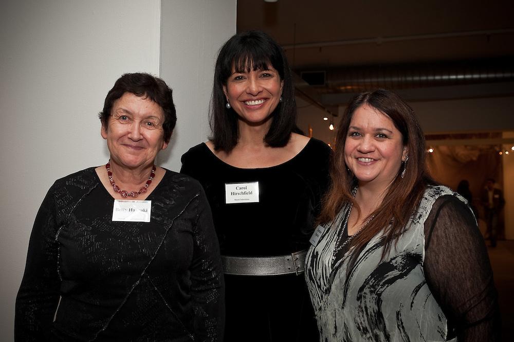 Betty Hauraki (Maori Language Commission), Carol Hirschfeld, Charmaine Ngarimu (Maori Television).  Pataka cocktail function. Photo by Mark Tantrum