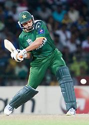 © Licensed to London News Pictures. 30/09/2012. Pakistani Shahid Afridi batting during the T20 Cricket World super 8's match between India Vs Pakistan at the R Premadasa International Cricket Stadium, Colombo. Photo credit : Asanka Brendon Ratnayake/LNP
