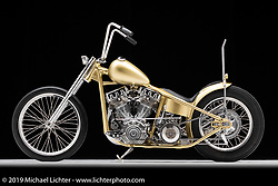 Mind Control is a beautiful Zenith Gold 60's Showbike style Chopper built by Dakota Toomey of Southampton NJ. Dakota started the build with a 56 Panhead Chopper and completely tore it apart and started over from scratch using parts gathered from swap meets, craigslist and fabricating his own molded body work. Photographed by Michael Lichter in Sturgis, SD. August 1, 2019. ©2019 Michael Lichter