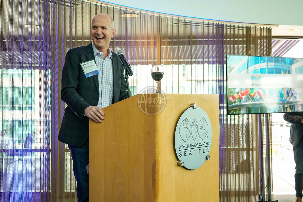 World Trade Center Seattle Spring Member Reception. Board Chair Brandon Pedersen (Alaska Airlines). Photo by Alabastro Photography.
