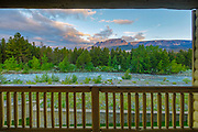 Sunrise view from from a room in the St Mary Lodge, just outside the entrance to Glacier National Park, Montana