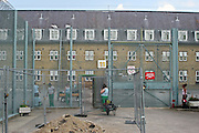The gates into the North wing of HMP Downview.