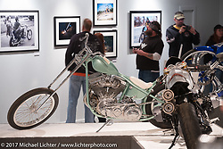 Zach and Jake Hindes Prism Supply custom Panhead in the Old Iron - Young Blood exhibition in the Motorcycles as Art gallery at the Buffalo Chip during the annual Sturgis Black Hills Motorcycle Rally. Sturgis, SD, USA. Wednesday August 9, 2017. Photography ©2017 Michael Lichter.
