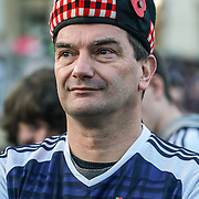 London,England,UK: 11th Nov 2016: Thousands of Scottish fans have made their traditional pilgrimage to Trafalgar Square in London ahead of Friday night's crunch World Cup qualifier with England at Wembley,London,UK. Photo by See Li
