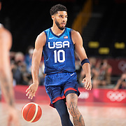 TOKYO, JAPAN - JULY 25:   Jayson Tatum #10 of the United States in action during the USA V France basketball preliminary round match at the Saitama Super Arena at the Tokyo 2020 Summer Olympic Games on July 25, 2021 in Tokyo, Japan. (Photo by Tim Clayton/Corbis via Getty Images)