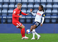 Preston North End's Daniel Johnson battles with Birmingham City's Riley McGree<br /> <br /> Photographer Dave Howarth/CameraSport<br /> <br /> The EFL Sky Bet Championship - Preston North End v Birmingham City - Saturday 31st October 2020 - Deepdale - Preston<br /> <br /> World Copyright © 2020 CameraSport. All rights reserved. 43 Linden Ave. Countesthorpe. Leicester. England. LE8 5PG - Tel: +44 (0) 116 277 4147 - admin@camerasport.com - www.camerasport.com