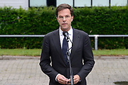 Besloten bijeenkomst voor nabestaanden van de slachtoffer van de vliegramp met de MH17 in het NBC Congrescentrum in Nieuwegein <br /> <br /> Closed meeting for the families of the victims of the plane crash with the MH17 , in NBC congresscentre in Nieuwegein <br /> <br /> Op de foto / On the photo: Toespraak Premier Mark Rutte na afloop van de bijeenkomst met nabestaanden Speech Prime Minister Mark Rutte after the meeting