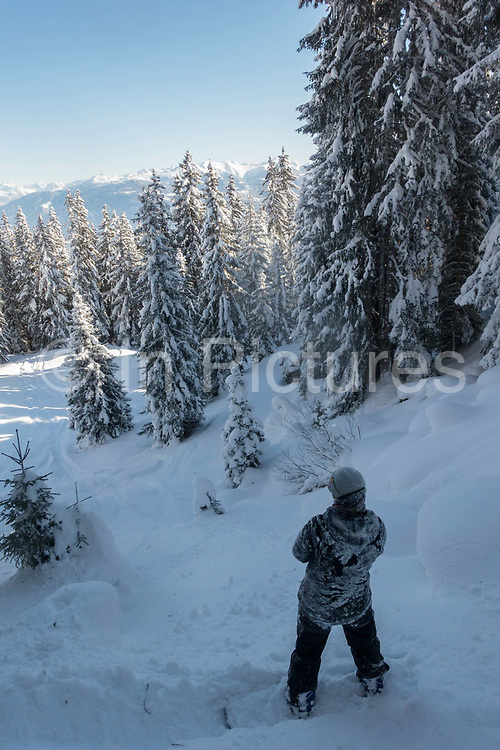 British olympic freestyle snowboarder Billy Morgan snowboarding in the Swiss backcountry on 19th January 2017 in Laax Ski Resort, Switzerland.
