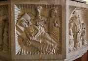 Church of All Saints, Great Glemham, Suffolk, England, UK - Seven Sacrament font depicting last rites