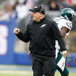 Philadelphia Eagles head coach Chip Kelly reacts after an Eagls Touchdown during the NFL game between the Philadelphia Eagles and the New York Giants at MetLife Stadium in East Rutherford, New Jersey on Sunday, December 24th 2014. The Eagles won 34-26. (Brian Garfinkel/Philadelphia Eagles)
