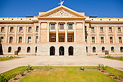 09 MAY 2011 - PHOENIX, AZ:  The Arizona State Capitol in Phoenix Monday. Governor Jan Brewer, State Senate President Russell Pearce and Attorney General Tom Horne, all Republicans, held one press conference to announce that the state was suing to take its legal battle over SB1070, Arizona's tough anti-immigration law, past the US Court of Appeals and straight to the US Supreme Court. State Senator Steve Gallardo, a Democrat, held a press conference to announce that he was opposed to the Republican's legal actions and called on them to drop the suit altogether. Isolated shouting matches broke out between activists on both sides of the immigration issue during the press conferences.       Photo by Jack Kurtz