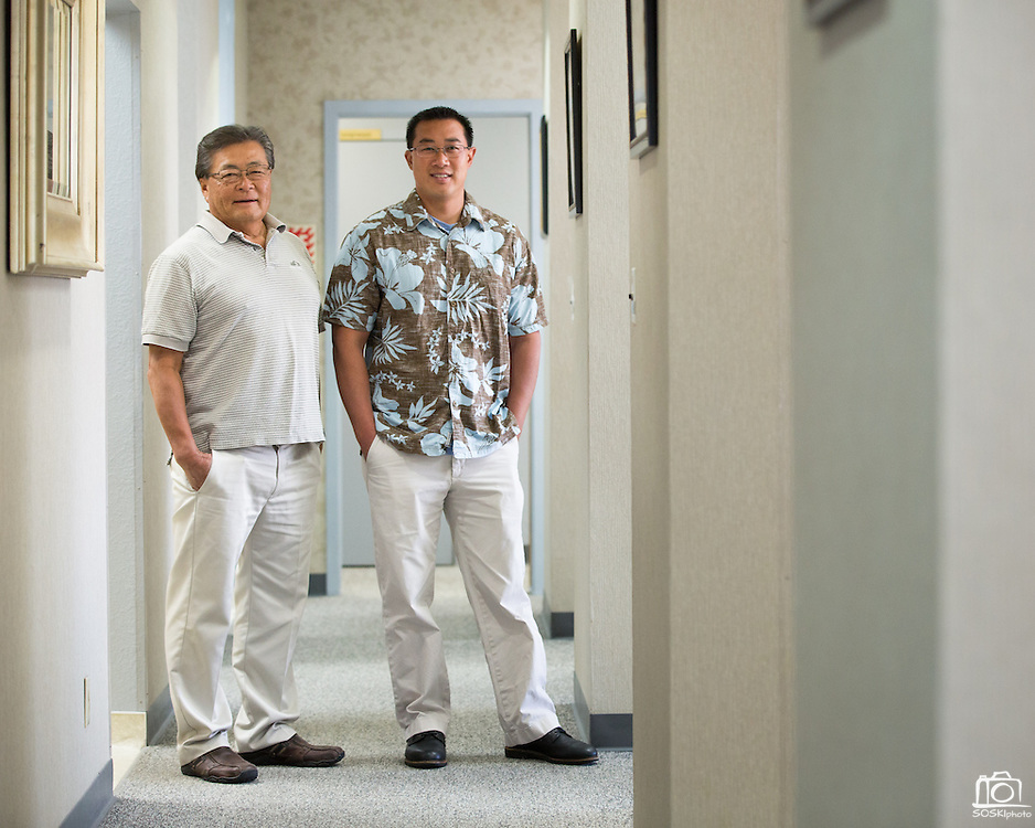 Wesley Murakami, DDS, left, and Owner Justin Cheng, DDS, pose for a portrait at Justin L Cheng & Wesley Murakami, DDS, in Fremont, California, on April 9, 2014 (Stan Olszewski/SOSKIphoto)
