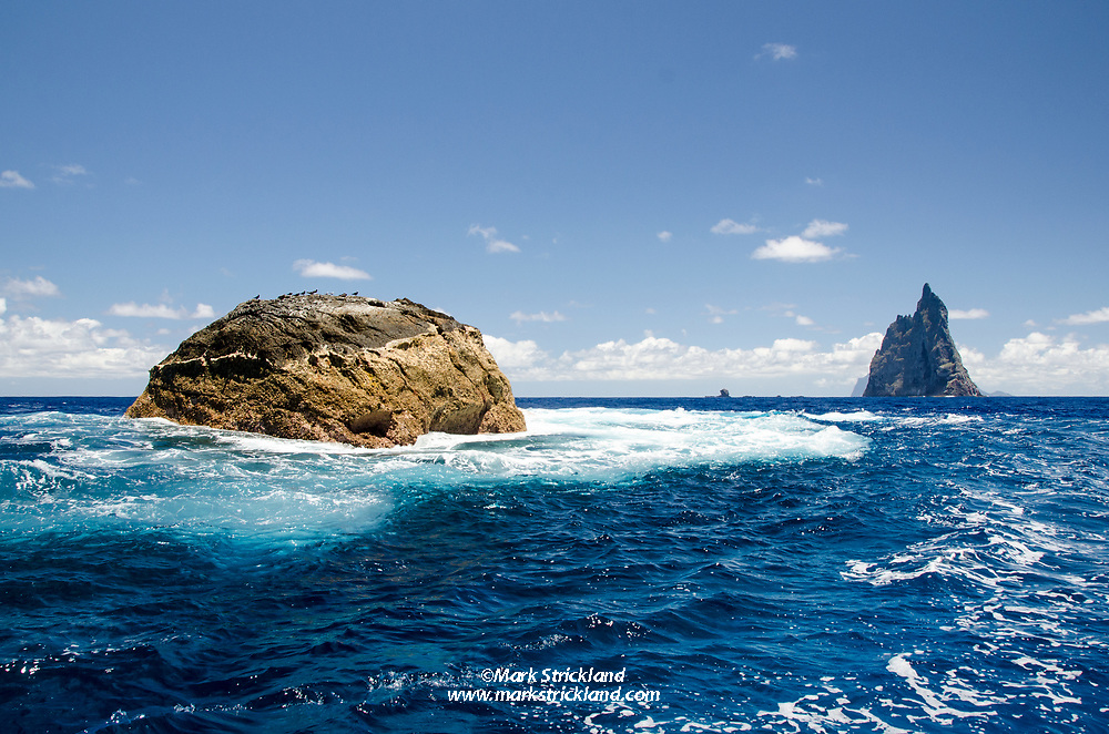 This exposed and infrequently-dived site is Southeast Pinnacle, with Ball's Pyramid in the distance. Lord Howe Island, Pacific Ocean, Australia, Tasman Sea, Pacidic Ocean