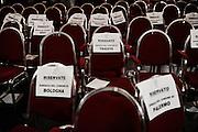 Le sedie riservate ai vari sindaci durante l'assemblea dell'Associazione Nazionale Comuni Italiani. Roma 05 Luglio 2013. Christian Mantuano / OneShot<br /> The seats reserved for various mayors during the assembly of the National Association of Italian Municipalities. Rome, July 5, 2013. Christian Mantuano / OneShot