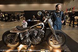 Hideya Togashi of Hide Motorcycles with his custom XR-like Shovelhead at the Mooneyes Yokohama Hot Rod & Custom Show. Yokohama, Japan. December 4, 2016.  Photography ©2016 Michael Lichter.