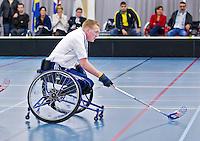 BREDA - Paragames 2011 Breda. Patrick van Eeden  zaterdag tijdens  de interland Nederland-Duitsland  bij het 4-landentoernooi Wheelchair Floorball Hockey, het  Nederlands handvoortbewogen rolstoelhockeyteam.  ANP COPYRIGHT KOEN SUYK