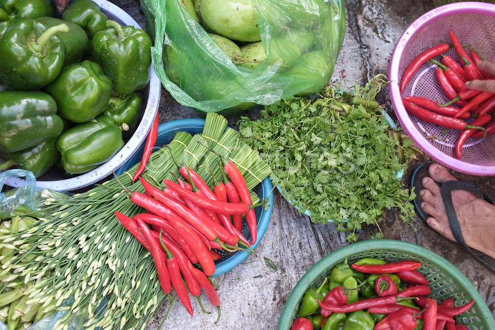 Fresh fruit and vegetables including mangoes, green peppers; red chillies; coriander and edible flowers for sale at the Old Market in Phnom Penh, the capital city of Cambodia. A large variety of local products are available for sale in fresh markets all over Cambodia, all being sold on small individual stalls.