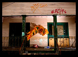 10th December, 2005. Aftermath of Hurricane Katrina, New Orleans, Louisiana. A lavish Mardi Gras Indian feathered head dress decorates the front of a devasted home in Gentilly, New Orleans east where the flood 'coffee stain' demonstrates just how high the water came.