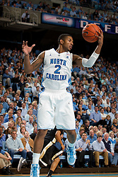 CHAPEL HILL, NC - FEBRUARY 15: Leslie McDonald #2 of the North Carolina Tar Heels rebounds a loose ball while playing the Wake Forest Demon Deacons at the Dean E. Smith Center in Chapel Hill, North Carolina. North Carolina won 64-78. (Photo by Peyton Williams/UNC/Getty Images) *** Local Caption *** Leslie McDonald