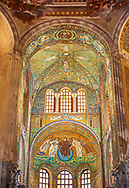 Byzantine Roman mosaics of the Apse of the Basilica of San Vitale in Ravenna, Italy. Mosaic decoration paid for by Emperor Justinian I in 547. A UNESCO World Heritage Site .<br /> <br /> Visit our BYZANTINE MOSAIC PHOTO COLLECTION for more   photos  to download or buy as prints https://funkystock.photoshelter.com/gallery/Byzantine-Eastern-Roman-Style-Mosaics-Pictures-Images/G0000NvKCna.AoH4/3/C0000YpKXiAHnG2k<br /> If you prefer to buy from our ALAMY PHOTO LIBRARY  Collection visit : https://www.alamy.com/portfolio/paul-williams-funkystock/basilica-san-vitale-ravenna.html