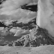Erupting Geyser Big Clouds - Yellowstone National Park - Infrared Black & White