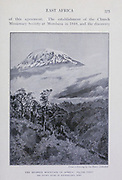 The Snowy dome of Kilimanjaro, the highest mountain in Africa: 19720 feet From the Book '  Britain across the seas : Africa : a history and description of the British Empire in Africa ' by Johnston, Harry Hamilton, Sir, 1858-1927 Published in 1910 in London by National Society's Depository