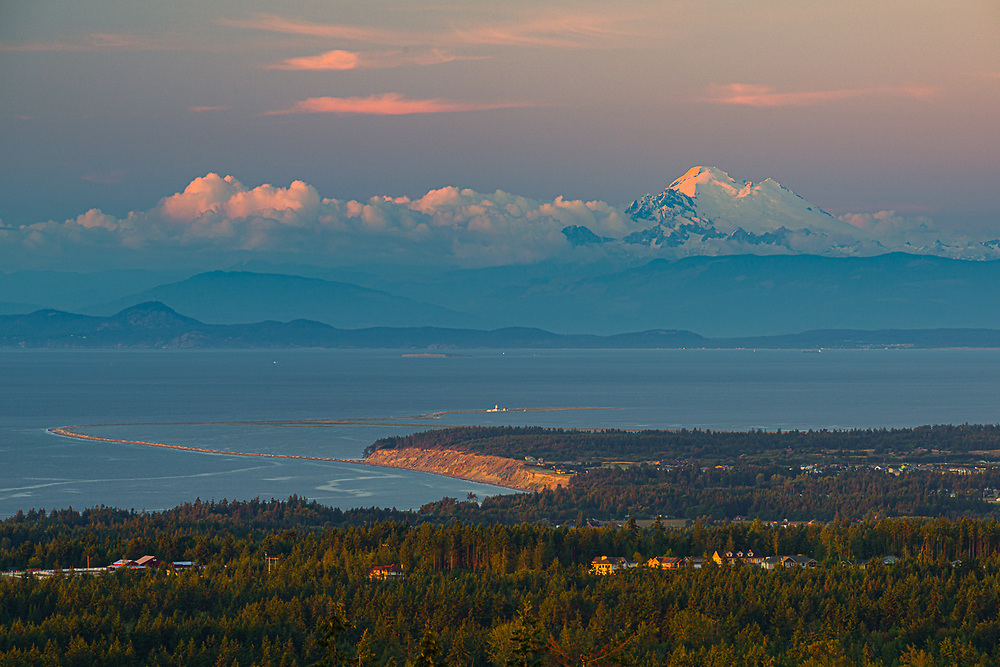 View of Mount Baker, Strait of Juan de Fuca and Dungeness Spit, evening light, late spring, Olympic Peninsula, WA, USA