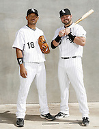 TUCSON - FEBRUARY 25:  Orlando Cabrera #18 and Nick Swisher #30 of the Chicago White Sox strike a pose during a photo shoot in Tucson, Arizona on February 25, 2008  (Photo by Ron Vesely/MLB Photos via Getty Images)  *** Local Caption *** Orlando Cabrera, Nick Swisher