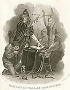Magician summoning up a spirit while the man who is consulting him crouches terrified. On the floor is aheart stuck with nails and an unsheathed knife. Illustration by William Marshall Craig (c1765-c1834).