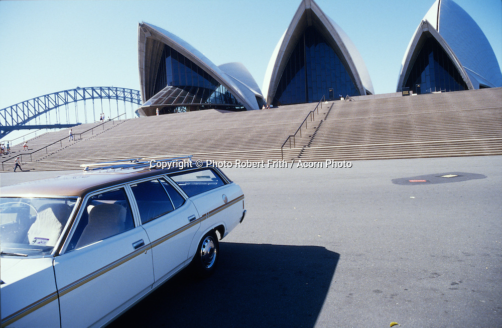 Sydney Opera House and Harbour Bridge with Ford Fairlane Wagon