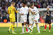 England's Ben Chilwell celebrating with England's Kyle Walker during the UEFA Nations League match between England and Croatia at Wembley Stadium, London, England on 18 November 2018.