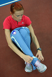 Slovenian athlete Sonja Roman at the afternoon warming up day before European Athletics Indoor Championships Torino 2009 (6th - 8th March), at Oval Lingotto Stadium,  Torino, Italy, on March 5, 2009. (Photo by Vid Ponikvar / Sportida)