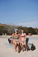 Valentina and her 14-year-old granddaughter Nastasya at Peschanka Beach in Mariupol, Ukraine.<br /><br />(September 26, 2015)