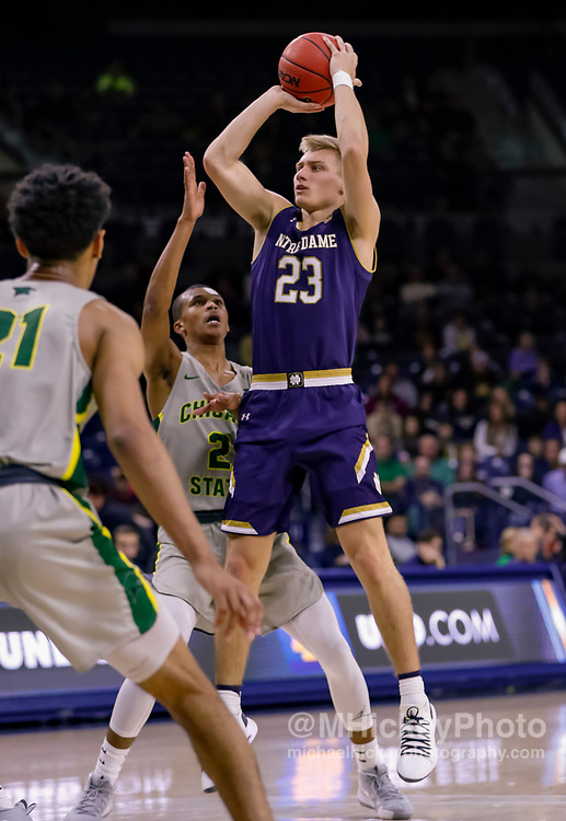 SOUTH BEND, IN - NOVEMBER 08: Dane Goodwin #23 of the Notre Dame Fighting Irish shoots the ball during the game against the Chicago State Cougars at Purcell Pavilion on November 8, 2018 in South Bend, Indiana. (Photo by Michael Hickey/Getty Images) *** Local Caption *** Dane Goodwin