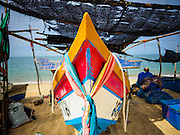 15 JUNE 2105 - BAN THONG, NARATHIWAT, THAILAND:    Fishing boats on the beach in Ban Thong, Narathiwat province. Most of the families in Ban Thong are subsistence fishermen.   PHOTO BY JACK KURTZ