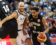 NANJING,CHINA:SEPTEMBER 5th 2019.FIBA World Cup Basketball 2019 Group phase match.Group F. New Zealand vs Greece. Shooting Guard, Corey WEBSTER (R) pushes past Point Guard Nick CALATHES of Greece.<br /> Photo by Jayne Russell / www.PhotoSport.nz