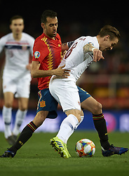 March 23, 2019 - Valencia, Valencia, Spain - Sergio Busquets of Spain and Ole Selnas of Norway battle for the ball during the 2020 UEFA European Championships group F qualifying match between Spain and Norway at Estadi de Mestalla on March 23, 2019 in Valencia, Spain. (Credit Image: © Jose Breton/NurPhoto via ZUMA Press)