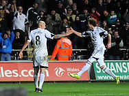 Swansea City Jonjo Shelvey's second half goal celebrations with Jose Canas (right).<br /> Barclays Premier League match, Swansea city v Newcastle Utd at the Liberty stadium in Swansea, South Wales on Wednesday 4th Dec 2013. pic by Phil Rees, Andrew Orchard sports photography,