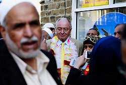 © Licensed to London News Pictures. 20/04/2015, Bradford, West Yorkshire. Former London Mayor and MP Ken Livingstone visits Bradford to support Labour candidate Naz Shah in the Bradford West constituency. Ken Livingstone speaking outside a community centre in the roller district of Bradford. Photo credit : Paul Thompson/LNP