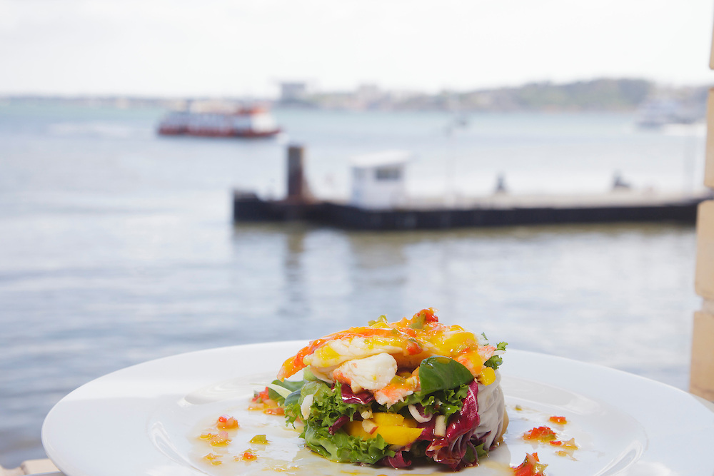 """Crab salad pictured in """"Ibo"""" restaurant, with view to Tagus river."""